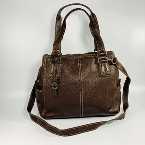 Fossil Brown Pebbled Leather Multi Pocket Purse